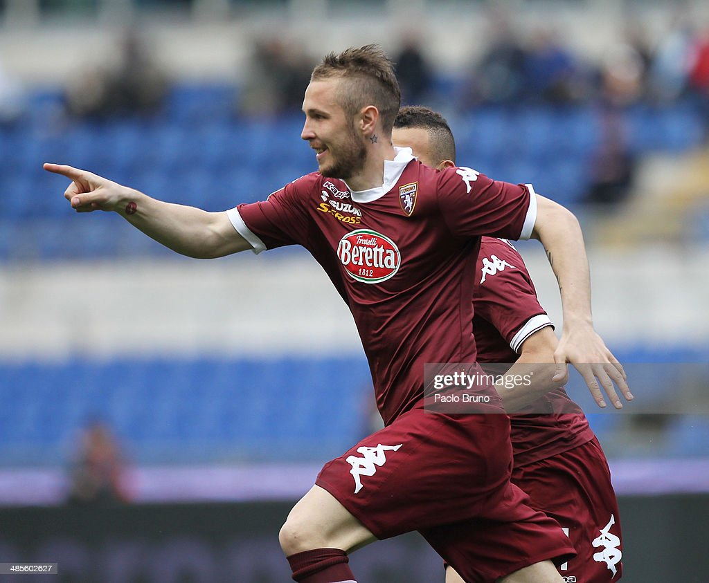<a gi-track='captionPersonalityLinkClicked' href=/galleries/search?phrase=Jasmin+Kurtic&family=editorial&specificpeople=7418994 ng-click='$event.stopPropagation()'>Jasmin Kurtic</a> of Torino FC celebrates after scoring the first team's goal during the Serie A match between SS Lazio and Torino FC at Stadio Olimpico on April 19, 2014 in Rome, Italy.