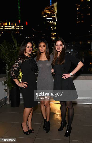 Jasmin Luciano Jarah Mariano and Katie Burgou attend The Social Network Mixer on October 29 2014 in New York City