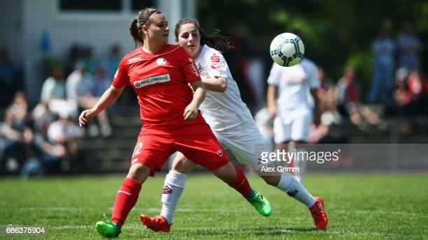 Jasmin Mackert of Niederkirchen is challenged by Karoline Kohr of Koeln during the Second Bundesliga Women South match between FFC Niederkirchen and...