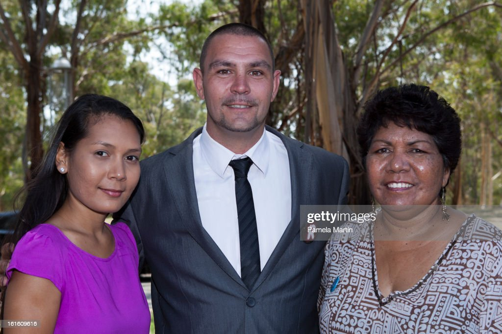 Jasmin Onus and Jeremey Donovan with Florence Onus, former chair of the Healing Foundation and member of the stolen generation attend 'The Apology - Five Years On - Heal our Past, Build our Future' at Federation Mall on February 13, 2013 in Canberra, Australia.