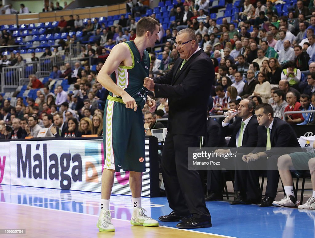 Jasmin Repesa, Head Coach of Unicaja Malaga in action during the 2012-2013 Turkish Airlines Euroleague Top 16 Date 4 between Unicaja Malaga v Real Madrid at Palacio Deportes Martin Carpena on January 17, 2013 in Malaga, Spain.