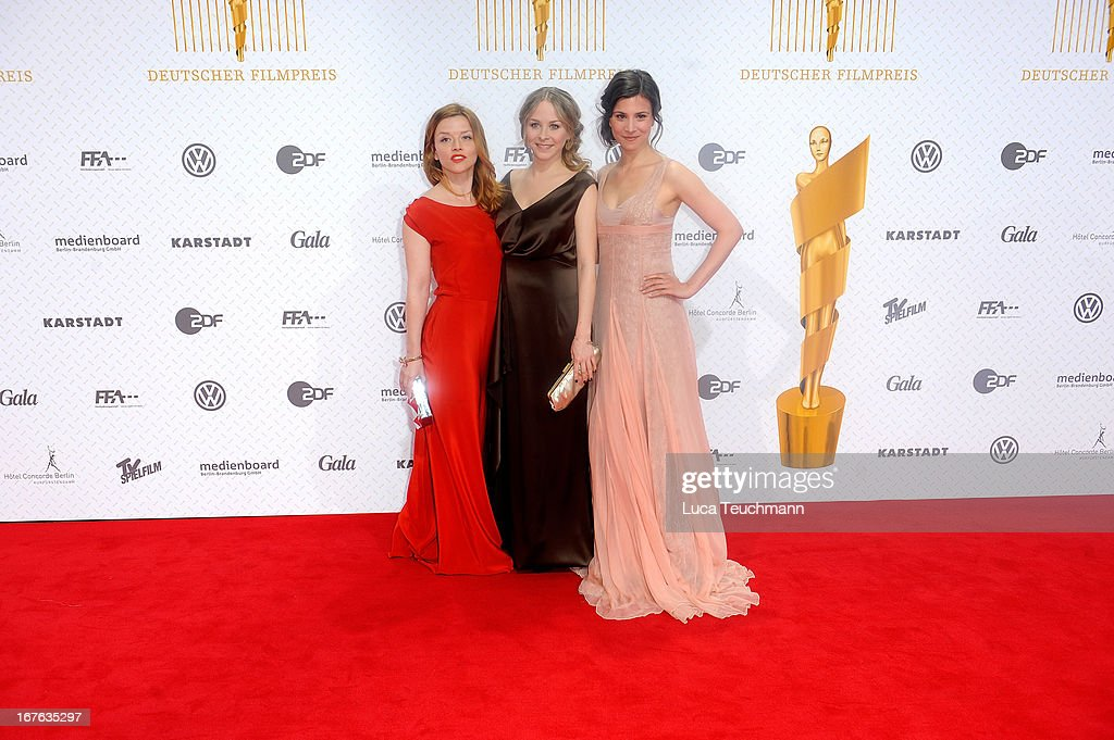 Jasmin Schwiers, Karoline Schuch and Aylin Tezel attends the Lola German Film Award 2013 at Friedrichstadtpalast on April 26, 2013 in Berlin, Germany.