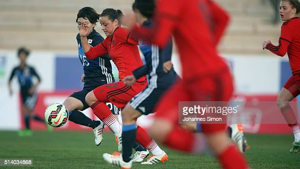 Jasmin Sehan of Germany and Mayu Sasaki of Japan fight for the ball during the women's U23 international friendly match between WU20 Germany and WU23...