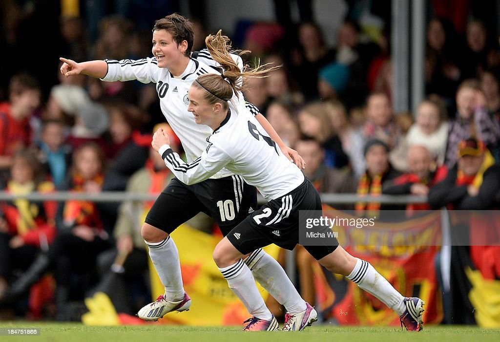 Jasmin Sehan (L) of Germany celebrates with Michaela Brandenburg after scoring the opening/first goal during the U17 Girls Euro Qualifier match between Germany and Belgium at Bioenergie-Arena on October 16, 2013 in Grossbardorf, Germany.