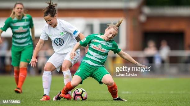 Jasmin Sehan of Wolfsburg and Cindy Koenig of Bremen fight for the ball during the Second Bundesliga Nord match between Werder Bremen and VfL...