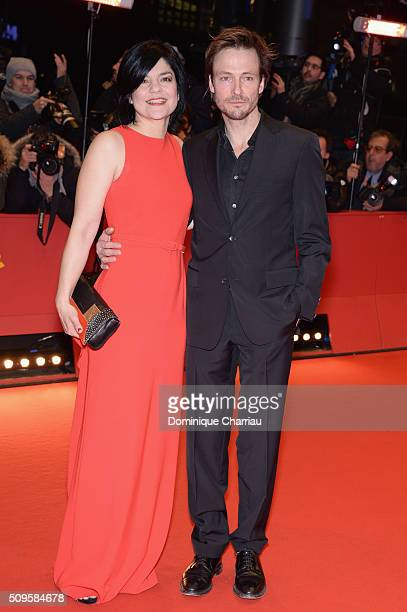 Jasmin Tabatabai and Andreas Pietschmann attend the 'Hail Caesar' premiere during the 66th Berlinale International Film Festival Berlin at Berlinale...