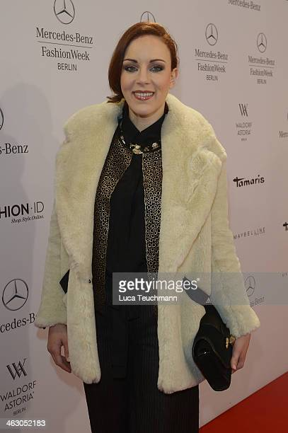 Jasmin Wagner arrives for the Guido Maria Kretschmer Show during MercedesBenz Fashion Week Autumn/Winter 2014/15 at Brandenburg Gate on January 16...