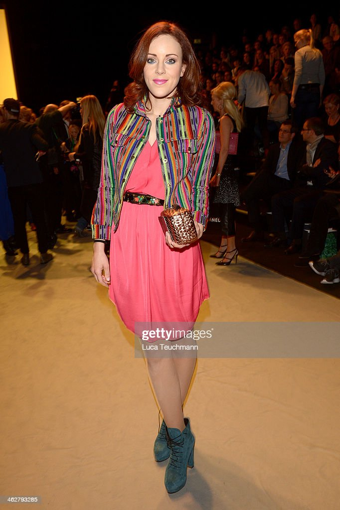 Jasmin Wagner arrives for the Marcel Ostertag show during Mercedes-Benz Fashion Week Autumn/Winter 2014/15 at Brandenburg Gate on January 15, 2014 in Berlin, Germany.