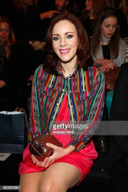 Jasmin Wagner arrives for the Marcel Ostertag show during MercedesBenz Fashion Week Autumn/Winter 2014/15 at Brandenburg Gate on January 15 2014 in...