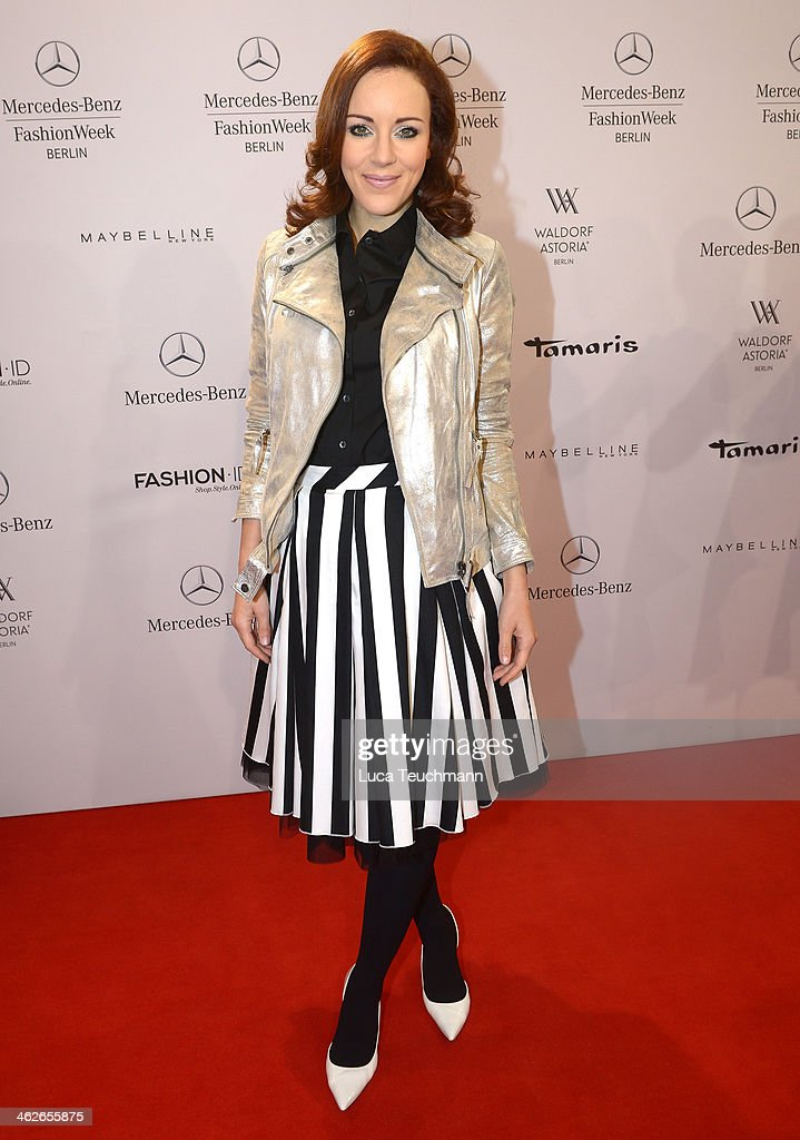 Jasmin Wagner attends the Riani show during Mercedes-Benz Fashion Week Autumn/Winter 2014/15 at Brandenburg Gate on January 14, 2014 in Berlin, Germany.