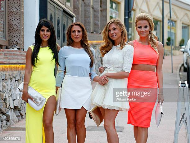 Jasmin Walia Grace Andrews Fran Parman and Georgia Kousoulou spotted arrivng for TOWIE filming at Mosaik on June 10 2014 in Marbella Spain