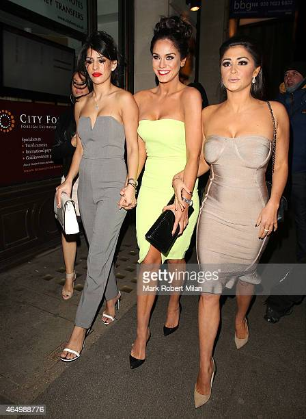 Jasmin Walia Vicky Pattison and Casey Batchelor attending The Sun Bizarre Party at Steam and Rye on March 2 2015 in London England