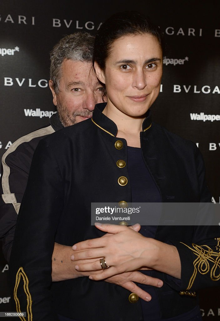 Jasmine Abdellatif and <a gi-track='captionPersonalityLinkClicked' href=/galleries/search?phrase=Philippe+Starck&family=editorial&specificpeople=3961802 ng-click='$event.stopPropagation()'>Philippe Starck</a> attend the Bulgari B.zero1 during Salone del Mobile 2013 at Bulgari Hotel on April 10, 2013 in Milan, Italy.