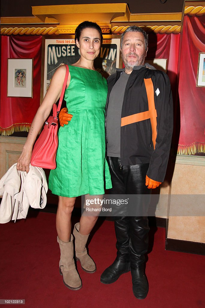 Jasmine and Philippe Starck pose as they attend the Philippe Starck wax figure unveilling at Musee Grevin on June 15, 2010 in Paris, France.