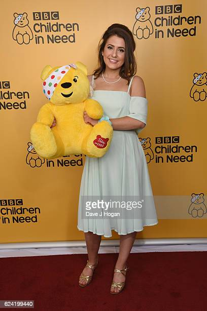 Jasmine Armfield shows support for BBC Children in Need at Elstree Studios on November 18 2016 in Borehamwood United Kingdom