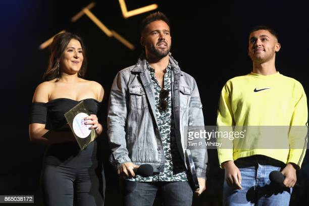 Jasmine Armfield Spencer Matthews and Shaheen Jafargholi speak on stage during the BBC Radio 1 Teen Awards 2017 at Wembley Arena on October 22 2017...