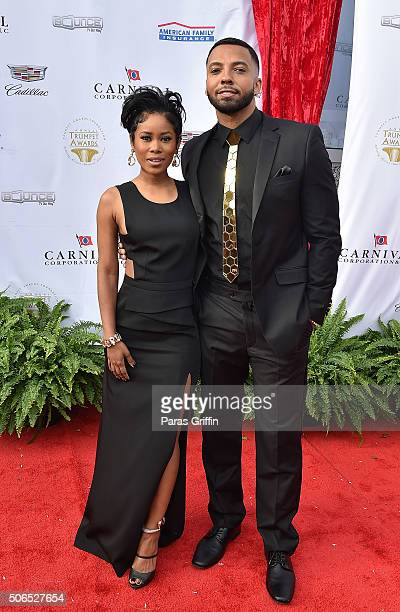 Jasmine Burke and Christian Keyes attend 2016 Trumpet Awards at Cobb Energy Performing Arts Center on January 23 2016 in Atlanta Georgia