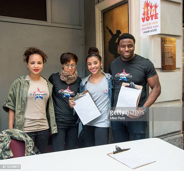 Jasmine Cephas Jones Cindy Winters Sasha Hollinger and Okieriete Onaodowan of the 'Hamilton' cast host voter registration at Richard Rodgers Theatre...