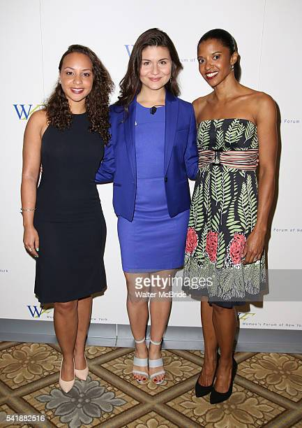 Jasmine Cephas Jones Phillipa Soo and Renee Elise Goldsberry from Broadway's 'Hamilton' attend the 6th Annual Elly Awards Luncheon at The Plaza Hotel...