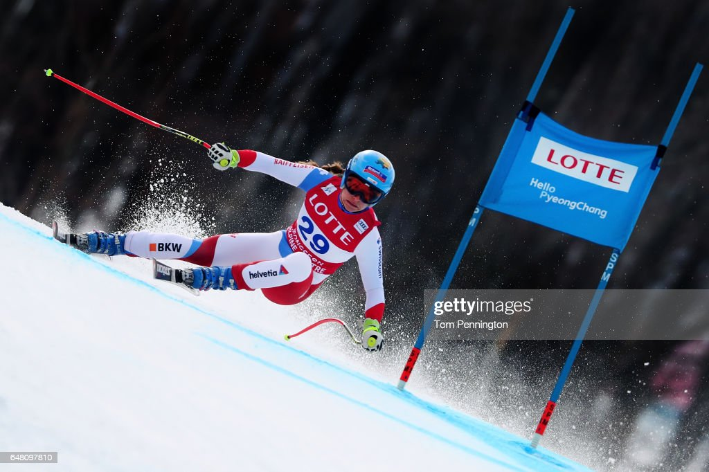 Jasmine Flury of Switzerland competes during the Audi FIS Ski World Cup 2017 Ladies' Super G at the Jeongseon Alpine Centre on March 5, 2017 in Jeongseon-gun, South Korea.