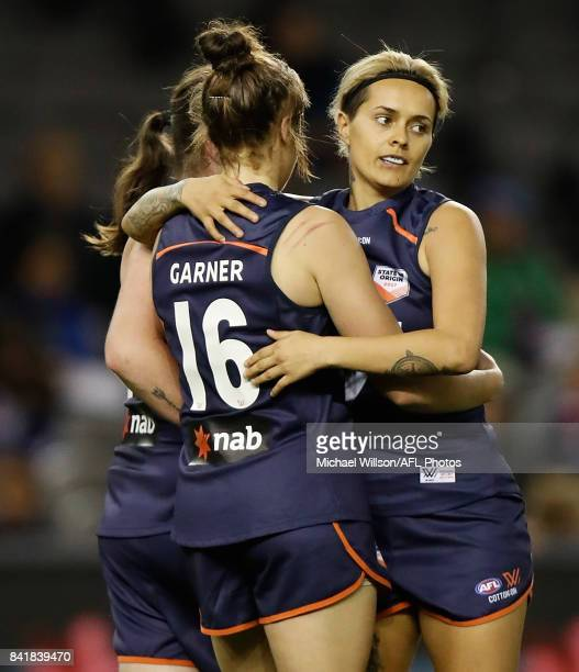 Jasmine Garner and Moana Hope of Victoria celebrate during the AFL Women's State of Origin match between Victoria and the Allies at Etihad Stadium on...