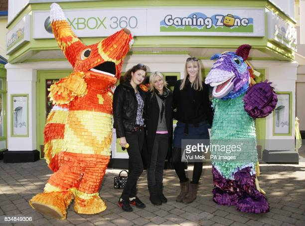 Jasmine Guiness Nicole Appleton and Judy Parfitt posing with characters from the video game Viva Pinata during the launch of the Xbox 360 Gaming Zone...