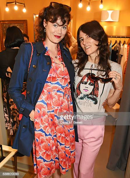 Jasmine Guinness and Bella Freud attend the launch of Bella Freud's numbered edition collection of sunglasses with Cutler Gross at her Chiltern...