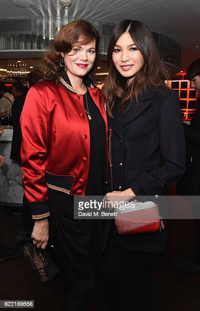 Jasmine Guinness and Gemma Chan attend VIP Launch party for Britannia at Harvey Nichols on November 10 2016 in London England