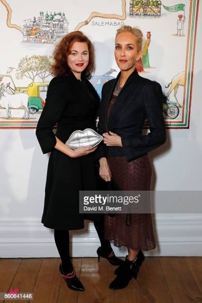Jasmine Guinness and Sarah Woodhead attend the Travels to My Elephant racer sendoff party hosted by Ruth Ganesh Ben Elliot and Waris Ahluwalia in...