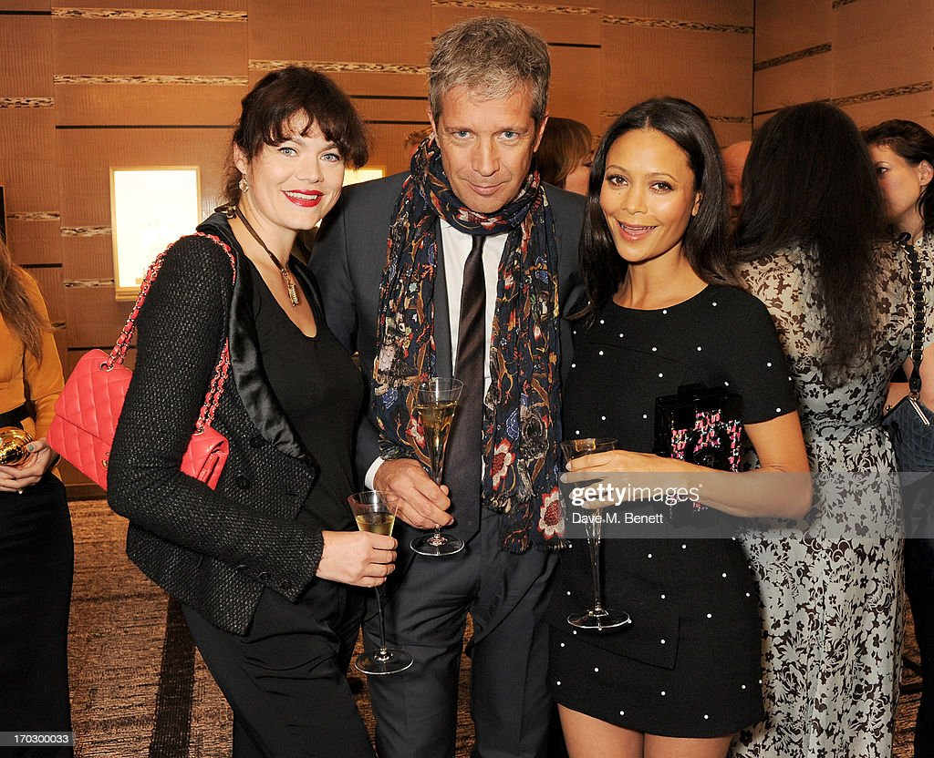(L to R) Jasmine Guinness, Tom Meggle and Thandie Newton attend a private view of the new CHANEL flagship boutique on New Bond Street on June 10, 2013 in London, England.