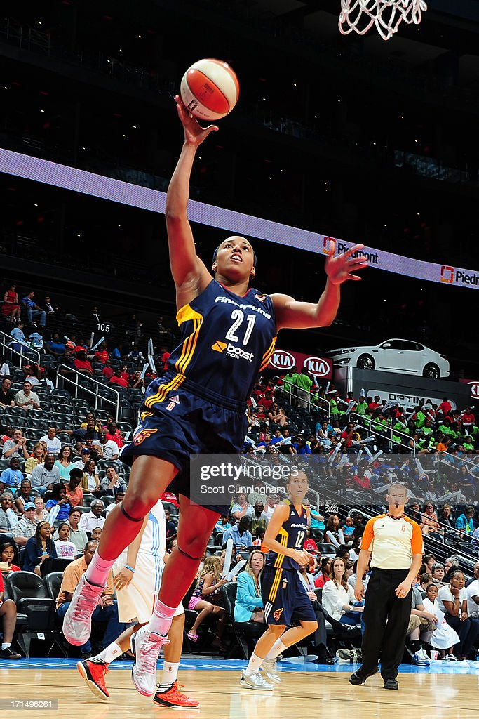 Jasmine Hassell #21 of the Indiana Fever puts up a shot against the Atlanta Dream at Philips Arena on June 25, 2013 in Atlanta, Georgia.
