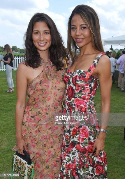 Jasmine Hemsley and Emma McQuiston Viscountess Weymouth attend the Cartier Queen's Cup Polo final at Guards Polo Club on June 18 2017 in Egham England
