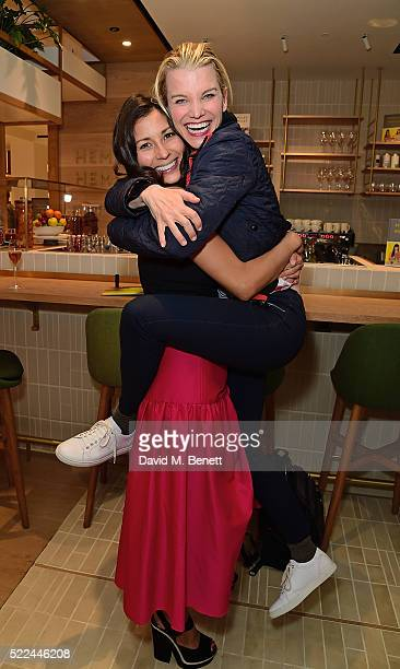Jasmine Hemsley and Julie Montagu attend the launch of the Hemsley Hemsley Cafe at Selfridges in the Body Studio on April 19 2016 in London England
