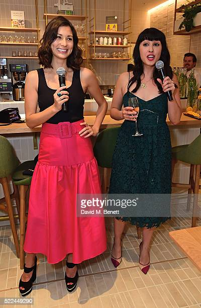 Jasmine Hemsley and Melissa Hemsley attend the launch of the Hemsley Hemsley Cafe at Selfridges in the Body Studio on April 19 2016 in London England