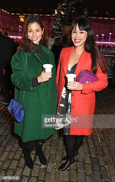 Jasmine Hemsley and Melissa Hemsley attend the opening party of Skate at Somerset House with Fortnum Mason at Somerset House on November 17 2015 in...