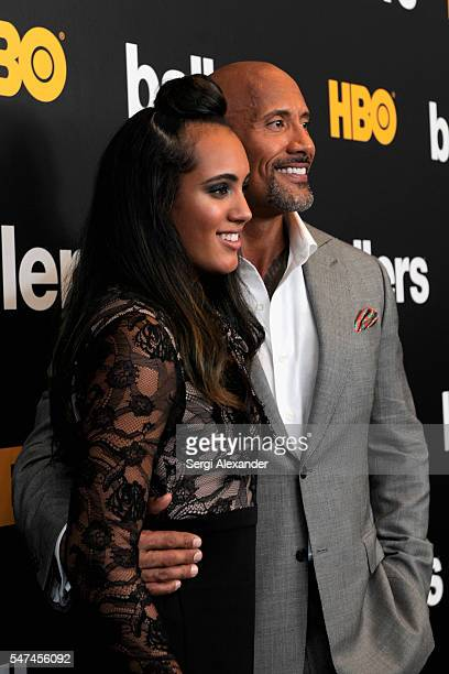 Jasmine Johnson and Dwayne Johnson attend the HBO Ballers Season 2 Red Carpet Premiere and Reception on July 14 2016 at New World Symphony in Miami...