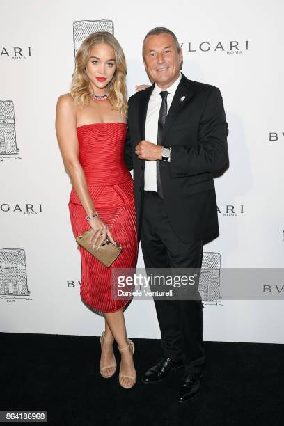 Jasmine Sanders and Bulgari CEO JeanChristophe Babin attend a party to celebrate the Bvlgari Flagship Store Reopening on October 20 2017 in New York...