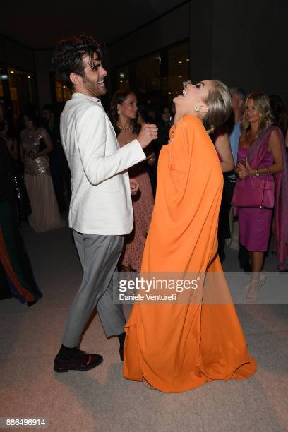 Jasmine Sanders and Jon Kortajarena attend the Grand Opening of Bulgari Dubai Resort on December 5 2017 in Dubai United Arab Emirates