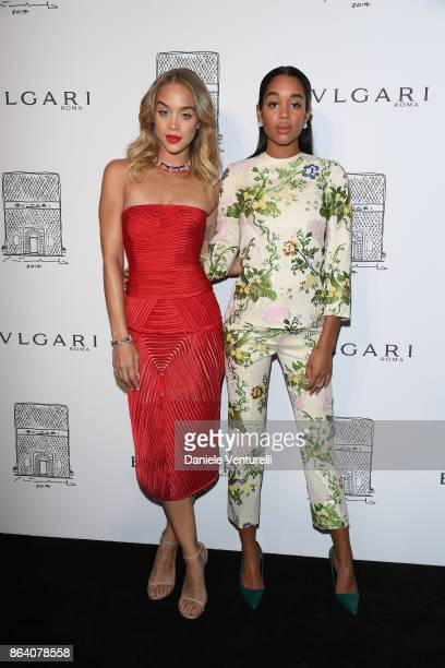 Jasmine Sanders and Laura Harrier attend a party to celebrate the Bvlgari Flagship Store Reopening on October 20 2017 in New York City