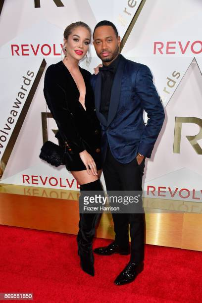 Jasmine Sanders and Terrence J attend the #REVOLVEawards at DREAM Hollywood on November 2 2017 in Hollywood California