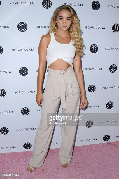 Jasmine Sanders arrives at the 5th Annual Beautycon Festival Los Angeles at Los Angeles Convention Center on August 12 2017 in Los Angeles California