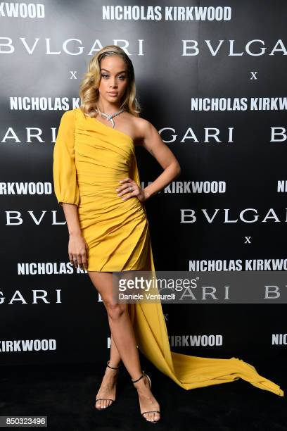 Jasmine Sanders attends a party celebrating 'Serpenti Forever' By Nicholas Kirkwood for Bvlgari on September 20 2017 in Milan Italy