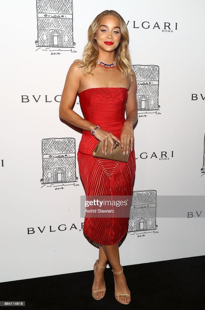 Jasmine Sanders attends Bulgari 5th Avenue flagship store opening on October 20, 2017 in New York City.