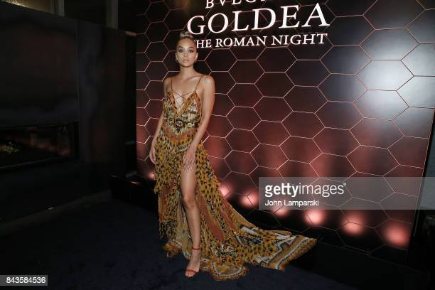 Jasmine Sanders attends Bulgari 'Goldea The Roman Night' fragrance launch party at 1 Hotel Brooklyn Bridge on September 6 2017 in the Brooklyn...