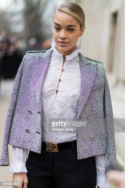 Jasmine Sanders outside Chanel on March 7 2017 in Paris France