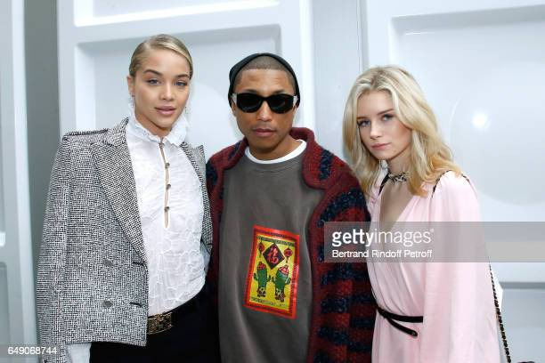 Jasmine Sanders Pharrell Williams and Lottie Moss attend the Chanel show as part of the Paris Fashion Week Womenswear Fall/Winter 2017/2018 on March...