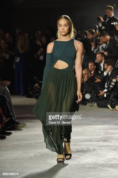 Jasmine Sanders walks the runway at the Fashion for Relief event during the 70th annual Cannes Film Festival at Aeroport Cannes Mandelieu on May 21...