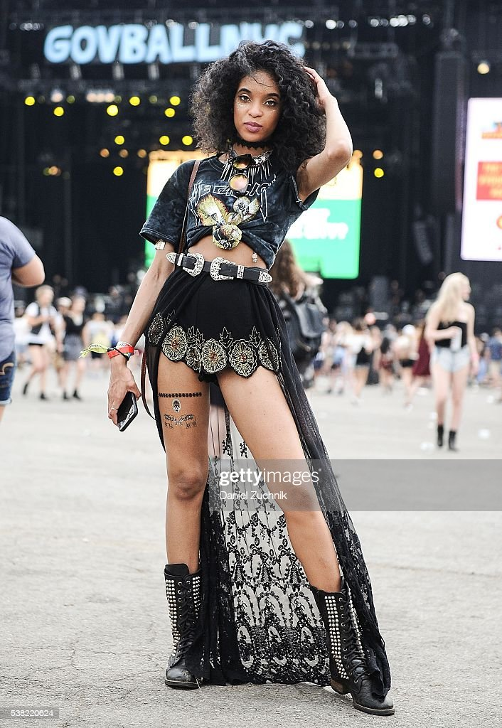 Jasmine Shirley is seen wearing an Urban Outfitters top, Forever 21 shorts and Steve Madden boots during Day 2 of the 2016 Governors Ball Music Festival at Randall's Island on June 4, 2016 in New York City.