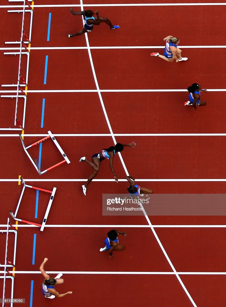 Jasmine Stowers of The United states falls in the womens 100m hurdles final during the Muller Anniversary Games at London Stadium on July 9, 2017 in London, England.