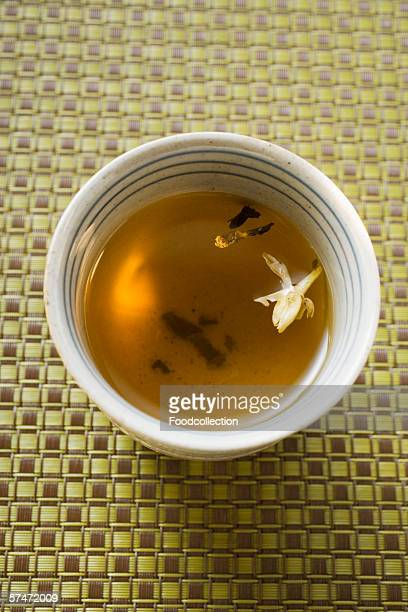 Jasmine tea in small bowl